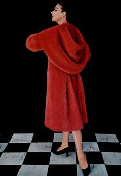 Red mohair coat by Pierre Cardin, 1957.