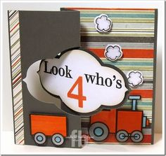 Look Who's 4! created by Frances Byrne using Trains2Stamp; Numbers4Trains; Popcorn2Stamp – The Stamps of Life and Sizzix Decorative Flip-its Card