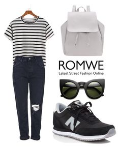 """ROMWE T-Shirt"" by tania-alves ❤ liked on Polyvore featuring Topshop and New Balance"