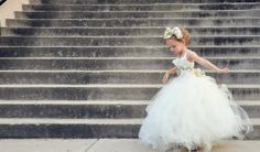 Ivory and gold flower girl dress
