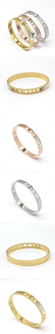 2017 Stainless Steel Fashion Jewelry Natural Shell Roman Numerals Bracelets & Bangles For Women Jewelry Love Bracelets Cuff