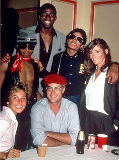 Michael Jackson with Magic Johnson, Tatum O'neal and others