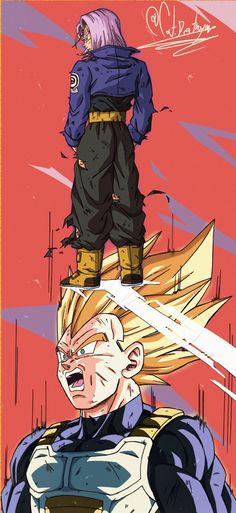 Vegeta & Trunks By: CatDestroyer Dragon Ball Z, Dragon Ball Image, Dragon Z, Vegeta And Trunks, Angel Wallpaper, Super Vegeta, Z Arts, Naruto Art, Fan Art