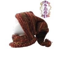 FLEECE LINED WOOL LONG POINTED HAT WITH NECK WARMER