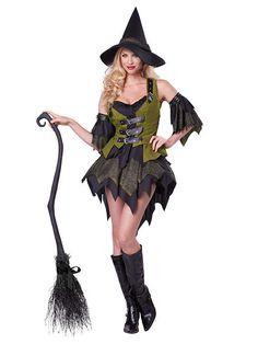 Bezaubernde Hexe Zauberin Magierin Damenkostüm schwarz-grün. Dieses Hexenkostüm für Damen ist ein absoluter Traum in Grün und Schwarz, mit dem du auf der Halloween Kostümparty sicher für Furore sorgen wirst. Ein wirklich grandioses Hexen-Damenkostüm, das sich wunderbar mit passenden Accessoires aus unserem Sortiment ergänzen lässt.