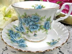 Blue Roses - this definitely looks like a Royal Albert pattern... I absolutely love it...