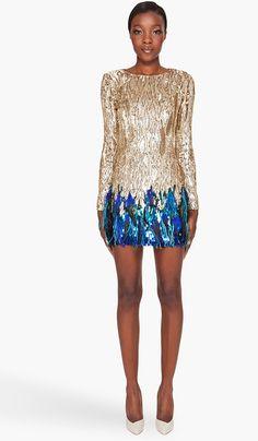 Matthew Williamson Liquid Sequin Dress in Gold | Lyst