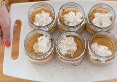 Pumpkin Pie (in Jars!), makes 10-12 small jars 16 oz. softened cream cheese 1/2 cup sugar 1/2 cup brown sugar 1 can (15 oz.) pumpkin puree 3 tablespoons flour 1 tablespoon milk 1 teaspoon ground cinnamon 1/4 teaspoon of each: ginger, nutmeg and cloves 3 eggs