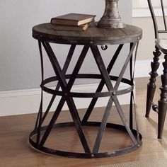 Crestview Collection Industrial Side Table-Lamps Plus Farmhouse End Tables, Rustic Coffee Tables, Wood End Tables, Rustic Table, Rustic Decor, Side Tables, Rustic Design, Small End Tables, Farmhouse Lamps