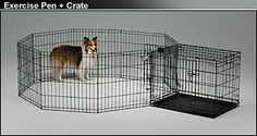ADD A CRATE TO THE EX PEN for a great puppy play room.  Use the optional top to the ex pen (see separate pin) to provide a secure play area.    500 Series Black E-Coat Exercise Pens, Midwest 500 Series Exercise Pens