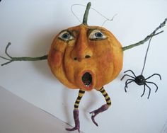 Spun Cotton Biggie Pumpkin and Spider Ornament by maria pahls