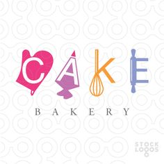 """Logo For Sale: Baking tools such as a whisk, oven mitts, pastry bag and rolling pin are used to create the word""""Cake."""""""