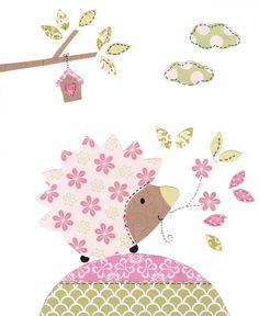 "Pink and Green Nursery Art Print, Woodland Nursery Decor, Hedgehog Decor, Baby Girl Nursery, Kids Wall Art,  8x10"" Print - Hungry Hedgehog"