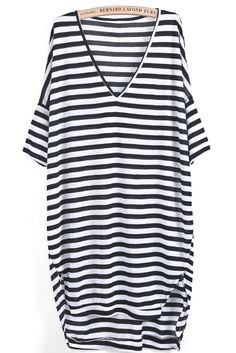 Black White Striped V Neck Loose Dress US$22.33