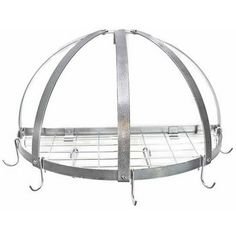 Pot-Racks - Wall Mount Pot Racks - Half Dome Shape - Includes 5 Rack Hooks and 2 Grid Hooks - by Rogar | KitchenSource.com