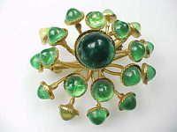 VINTAGE ESTATE zlato tón zelený kámen kv? Tiny brož PIN žádná rezerva