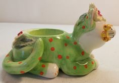 Whimsiclay-Cat-Figure-Amy-Lacombe-Tealight-Candle-Holder-Green-Pink-Spots-Flower