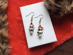 Santa's Hat Penguin Earrings, Penguin Crystal or Pearl Winter Christmas Earrings, Stocking Stuffer or Gift for Teen, Mom, BFF Great Christmas Gifts, Winter Christmas, Handcrafted Jewelry, Unique Jewelry, Teen Mom, Bff Gifts, Christmas Earrings, Gifts For Teens, Drop Earrings