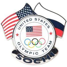 USA 2014 Winter Olympics Sochi Dual Flags Pin