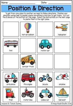 Things That Go Transport Theme: ELA Reading, writing and language worksheets Learning A Second Language, Map Skills, Learn Hebrew, Sentence Writing, English Language Arts, Writing Activities, Reading Comprehension, Worksheets, Transportation