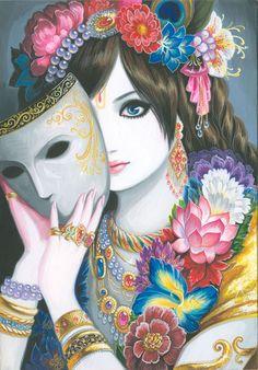Krishna with mask. Image by Devaki