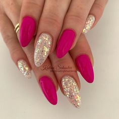Nageldesign - Nail Art - Nagellack - Nail Polish - Nailart - Nails nails Wedding Flowers - Warm Or P Fancy Nails, Cute Nails, Pretty Nails, Hot Pink Nails, Fabulous Nails, Gorgeous Nails, Shellac Nails, Glitter Nails, Hair And Nails