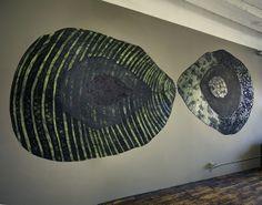 Mary Osmundsen, wall drawing, mixed media, charcoal, hair
