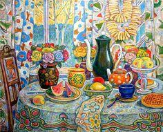 Н.Кузнецов. Чаепитие на веранде весенним утром