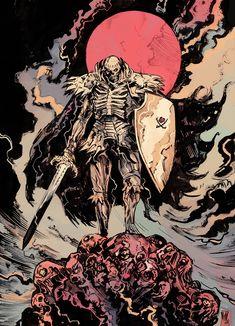 For fans of the manga Berserk and its adaptations. Manga Anime, Manga Art, Anime Art, Dark Fantasy Art, Dark Art, Kentaro Miura, Knight Art, Estilo Anime, Dark Souls