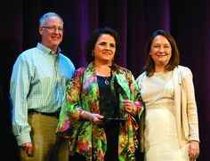 Tyler Mayor Martin Heines, left, and Cecilia Abbott, wife of Texas Governor Greg Abbott, right, take a photo with woman-owned business winner Adelfa Abriaga, owner of Novedades Luly, at the Hispanic Business Alliance Achievers Awards luncheon Tuesday Sept. 22, 2015 at the Crosswalk Center at Green Acres Baptist Church in Tyler, Texas. The annual event celebrates business and community leaders in Tyler's Hispanic community. (Sarah A. Miller/Tyler Morning Telegraph)