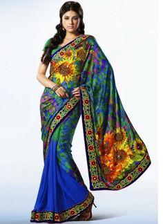 Super Sky Blue Printed Designer Casual Wear Saree http://www.angelnx.com/Sarees/Designer-Sarees