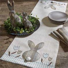 "Bunny & Tulip Applique Table Runner - 42""L"