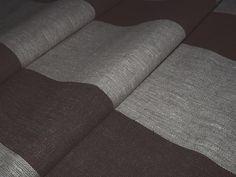 Black wide strips French Linen flax Fabric Canvas Upholstery Decorator Ecru light Gray Heavy Weight New ECO-friendly - custom yardage