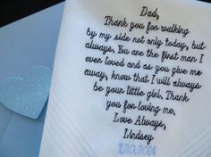 FREE GIFT BOX - Tailored verse for that special someone-/-Embroidered Wedding Handkerchief. Perfect gift for the Bride/Grooms Parents, $25.00