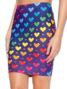 Love Ya Bits Rainbow Pencil Skirt (WW $60AUD / US $48USD) by Black Milk Clothing