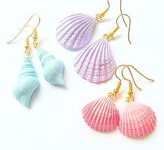 3 pairs seashell earrings Pastel earrings Pastel by DancingParrot