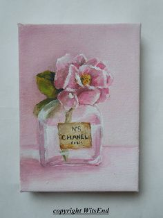 Rose Perfume painting original still life art by WitsEnd via Etsy