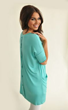Button Back Tunic - Mint $28