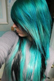 Blueish green and black hair coloring Cute Hair Colors, Cool Hair Color, Hair Colour, Emo Scene Hair, Emo Hair, Blue Green Hair, Hair Color For Black Hair, Funky Hairstyles, Pretty Hairstyles