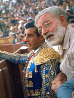 Spanish Matador Antonio Ordonez with Friend, Author Ernest Hemingway in Arena Before Bullfight Ernest Hemingway, Hemingway Cuba, Photo A Day, First Photo, The Sun Also Rises, Writers And Poets, Book Writer, American Literature, Life Magazine
