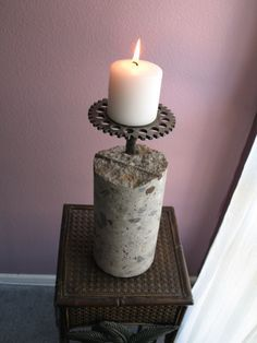 I like this idea of embedding an old iron something or other into the concrete (Diy Candles) Cement Design, Cement Art, Concrete Cement, Concrete Furniture, Concrete Crafts, Concrete Projects, Arreglos Ikebana, Bougie Candle, Diy Luminaire