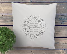 YOUR personal message hand printed on this beautiful cushion with dotted graphics by My Home and yours. Personalized Pillow Cases, Personalized Gifts, Pillow Quotes, Fabric Art, Valentine Gifts, Cushions, Graphic Design, Art Prints, The Originals