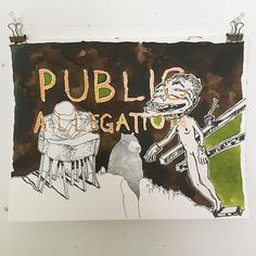 Public allegation - - - . . #michaellilin #drawing #ink #public #allegation #bear #landscape #art #mask #beams #sky #brown #green #naked