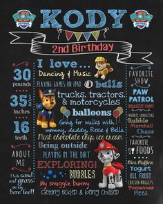 Ocean Blue Design made this custom sign for Kodys paw patrol birthday party. How adorable!