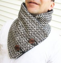 Men's cowl collar scarf Houndstooth wool scarfUnisex by knitwit321, $34.98