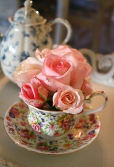 Fragrant Roses in a Teacup... the ultimate decor for the tea table! / My Romantic Home