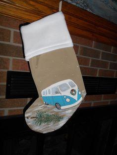 HANDMADE CHRISTMAS STOCKING-HANDPAINTED Surf Van, Microbus, VW style