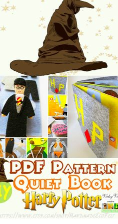 DIY Harry Potter Quiet Book pattern Harry Potter PDF pattern Felt book Busy Books Activity book Sensory toys Baby Harry Potter gifts #QuietBook #HarryPotter #Etsy #DIY #pattern