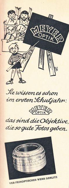 MEYER OPTIK, VEB Feinoptisches Werk Görlitz, East German Ad, DDR Werbung 1961