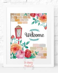 Welcome sign printable, Instant download, Home Decor, Family Wall, Welcome Home, Welcome Home Sign,